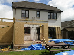 New timber framed rear extension underway