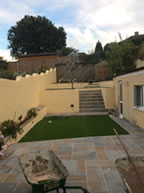 Complete garden landscape including retaining walls, lawn and patio areas